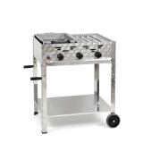 ½ Grill-½ Bräter 11kW fahrbar+Rost und Stahlpfanne